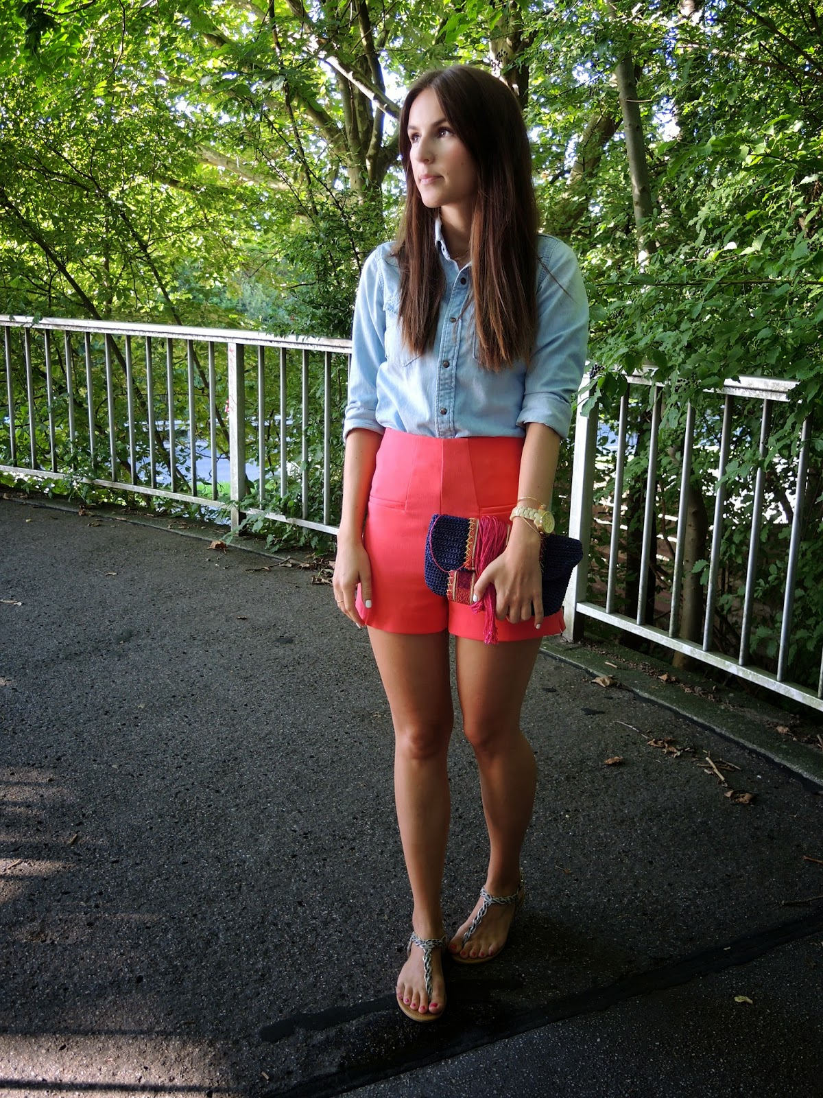 high waist shorts, clutch, long hair, summer, coral, sandals