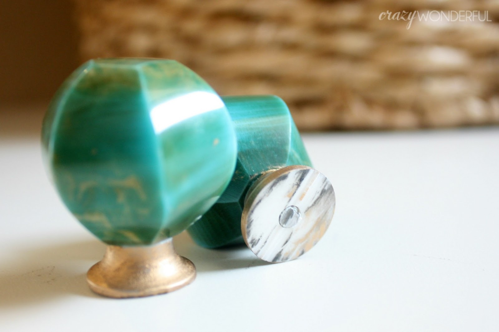 Add knobs without drilling holes crazy wonderful for Turquoise cabinet pulls