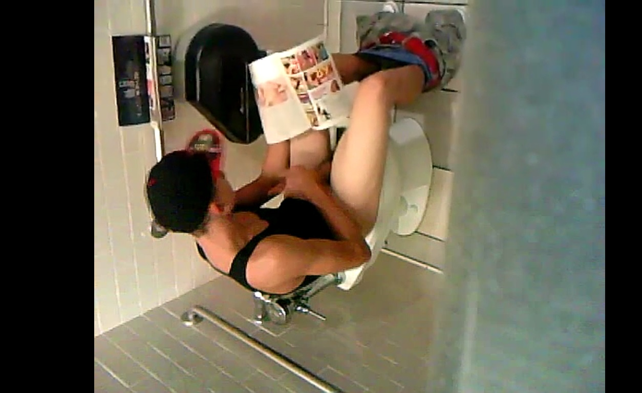 Caught boy jerking at toilet