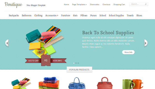Boutique : Online Shop Blogger Template