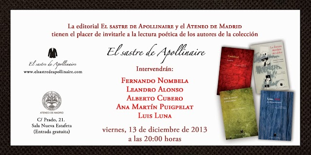 Lectura colectiva de poetas de EL SASTRE DE APOLLINAIRE