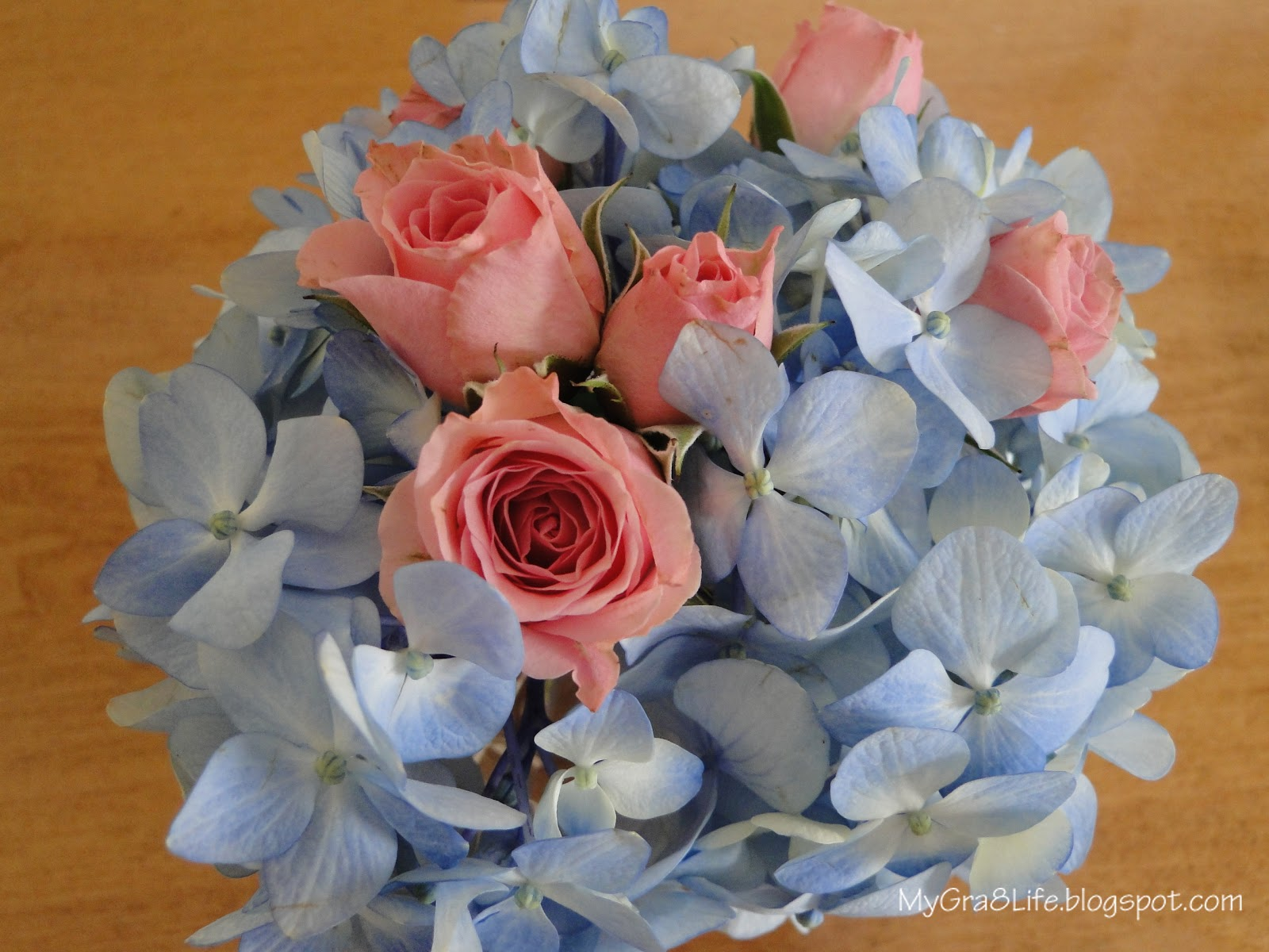 My gra 8 life pink and blue baby shower for Pink and blue flower arrangements