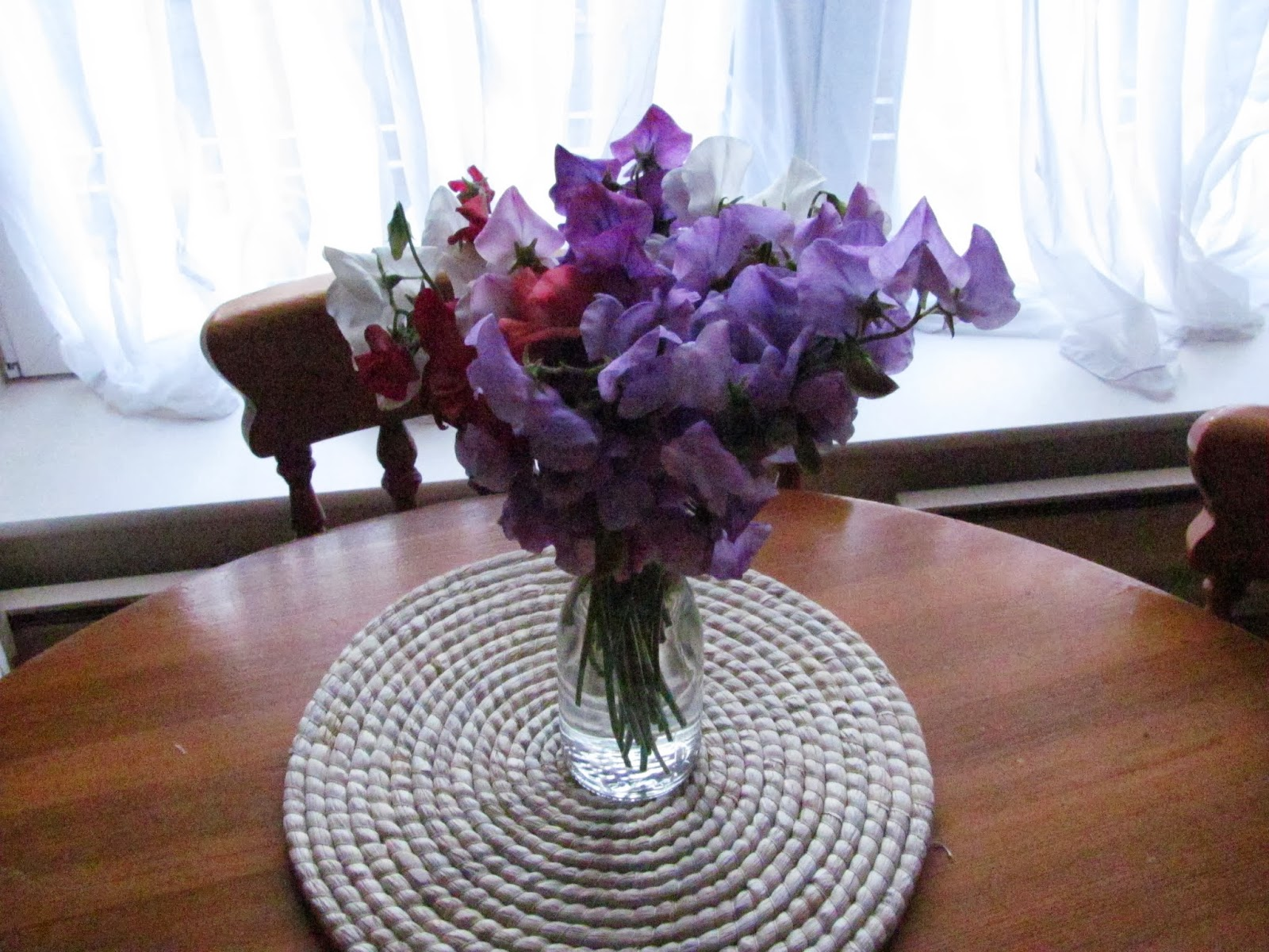 Sweet pea flowers sit in a vase on a dining table in an apartment in Dublin, Ireland