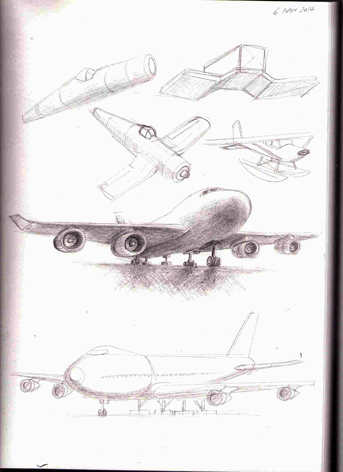 Sketchbook drawings of Boeing 747 Jumbo and F4U Corsair Planes