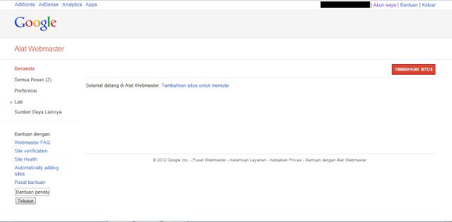 Cara Mendaftarkan Blog ke Google Webmaster Tools - Halaman Google Webmaster Tools