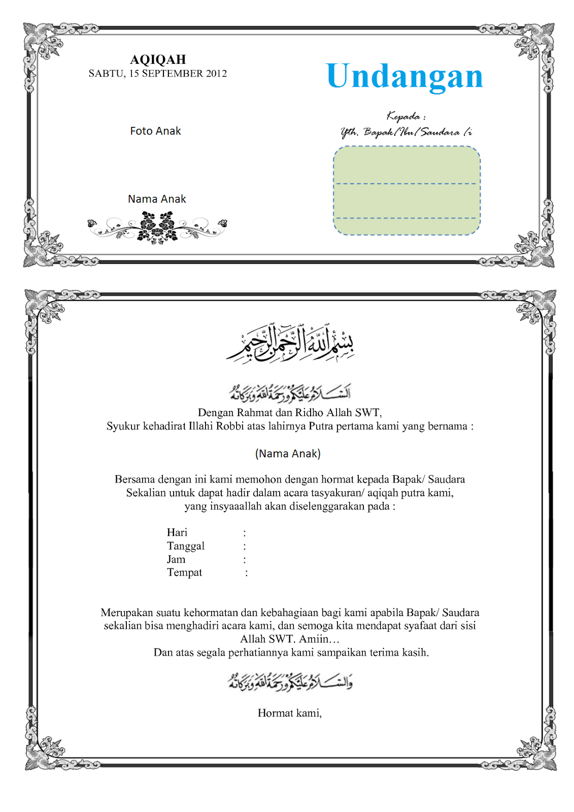 contoh dari beberapa contoh surat undangan syukuran kelahiran bayi