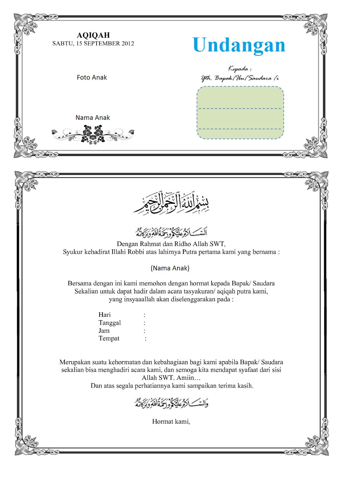Dan di bawah inisalah satu contoh dari beberapa contoh surat undangan