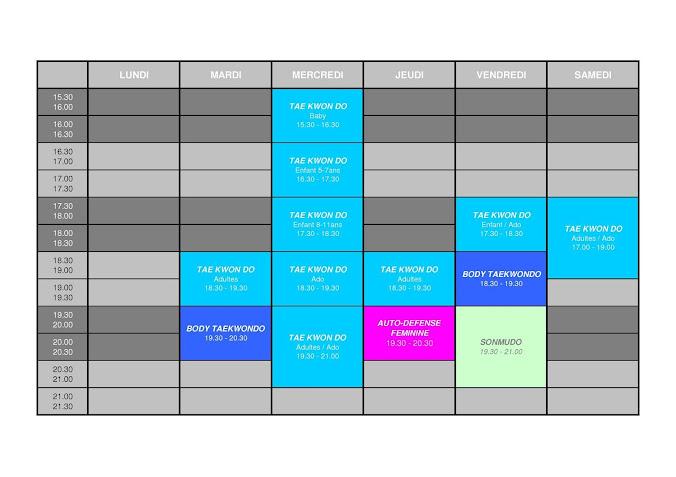 Planning des cours Saison 2015 / 2016