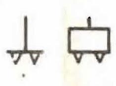 Signo convencional de medio de locomoción de elementos fijos