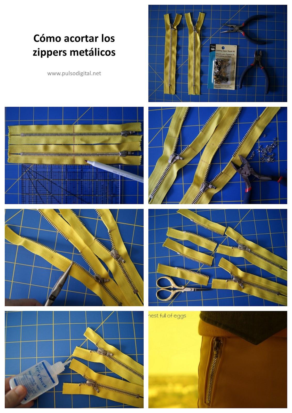 Cómo acortar los zippers metálicos