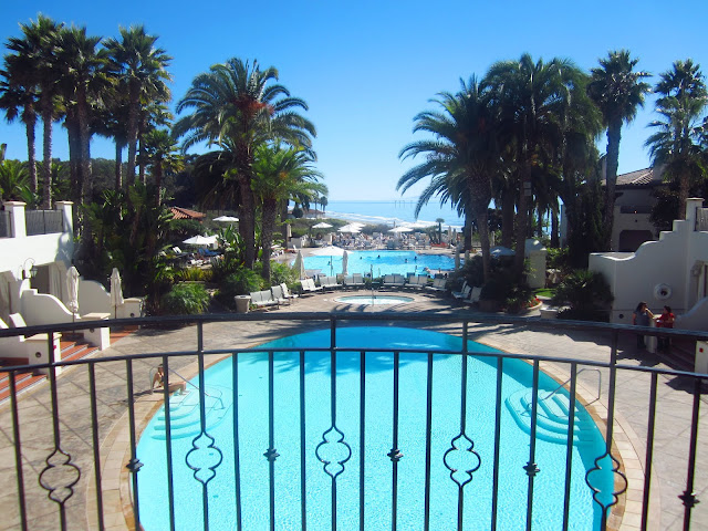 Bacara resort's pool in Santa Barbara with a view of pacific ocean