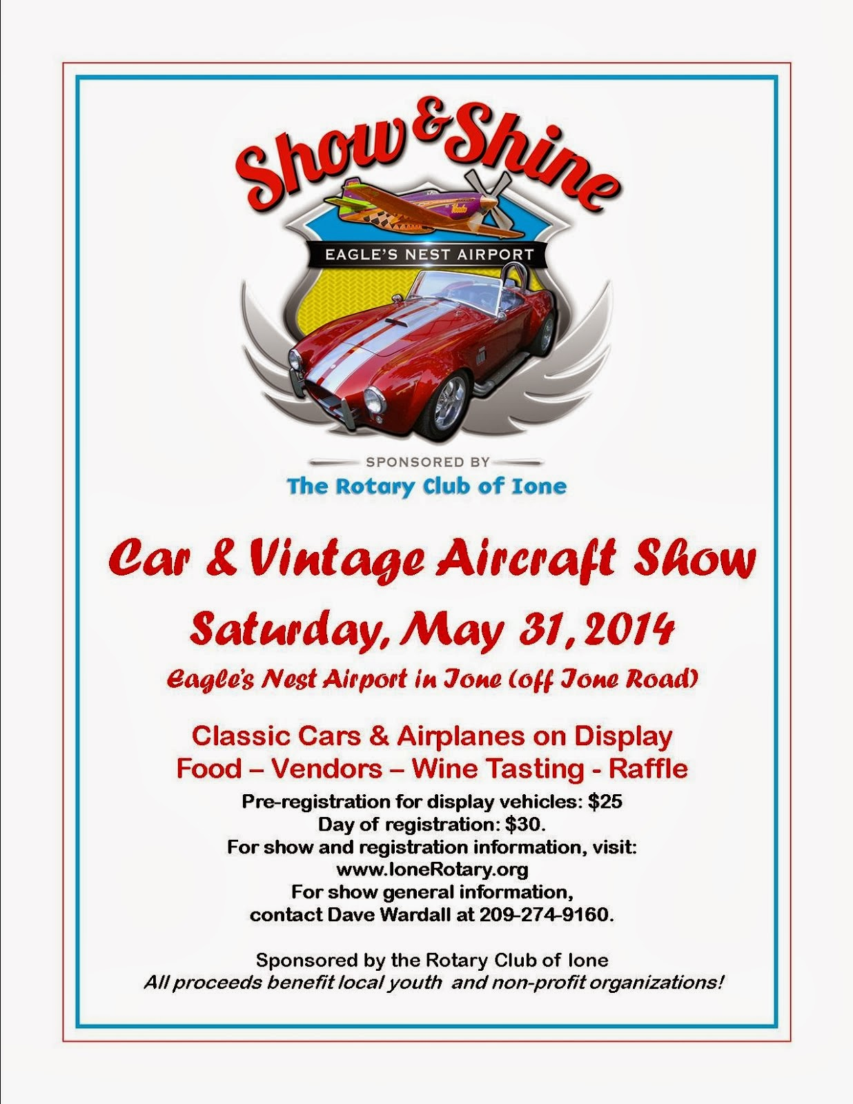 """Show & Shine"" Car & Vintage Aircraft Show - Sat May 31"