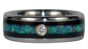 http://www.titaniumringshop.com/blue-opal-black-wood-and-diamond-inlay-ring-p-912.html