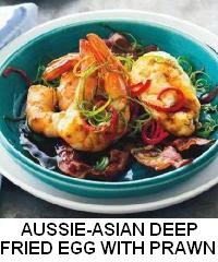 Aussie-asian deep-fried eggs with speck, prawns and chilli