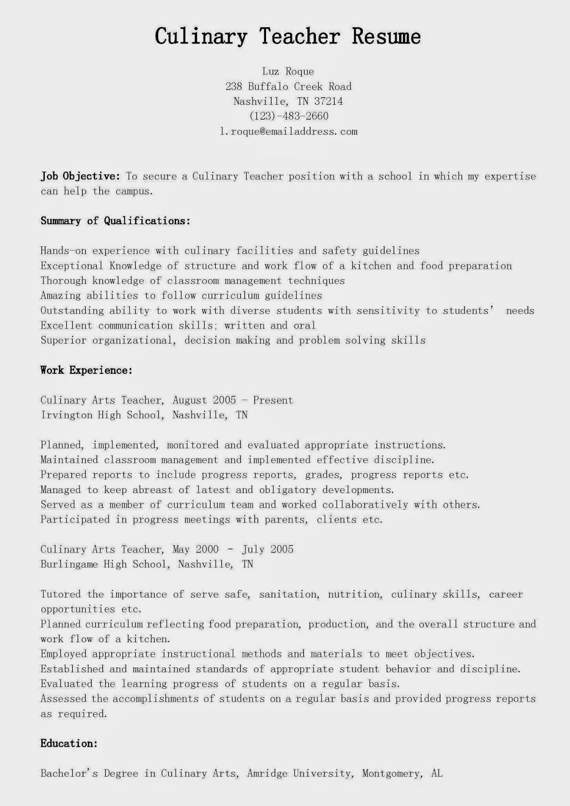 Information Technology Application Letter Livmoore Tk  Culinary Arts Resume