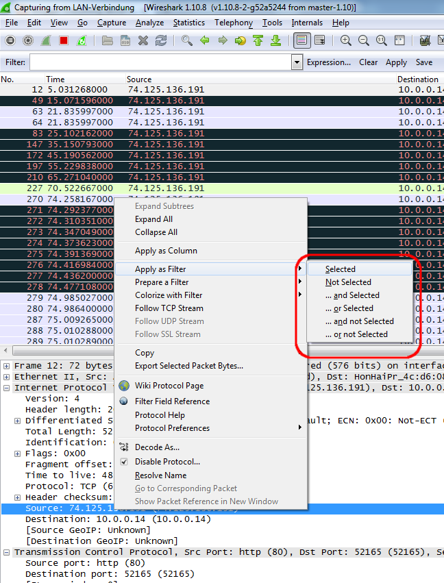 Apply wireshark filter with context menu