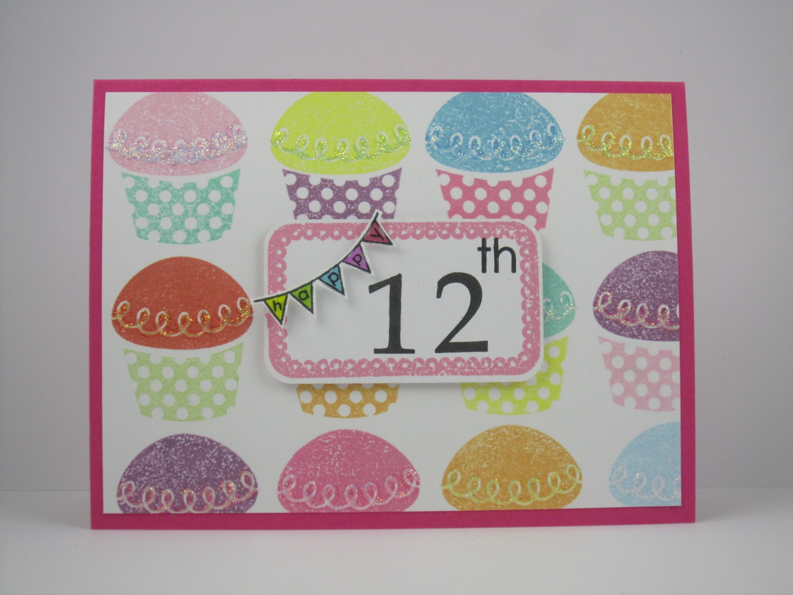 Infinite possibilities happy 12th birthday i was in the mood to create my own background and used a cupcake stamp from pti with all the vibrant ink colours i could find in my drawer m4hsunfo