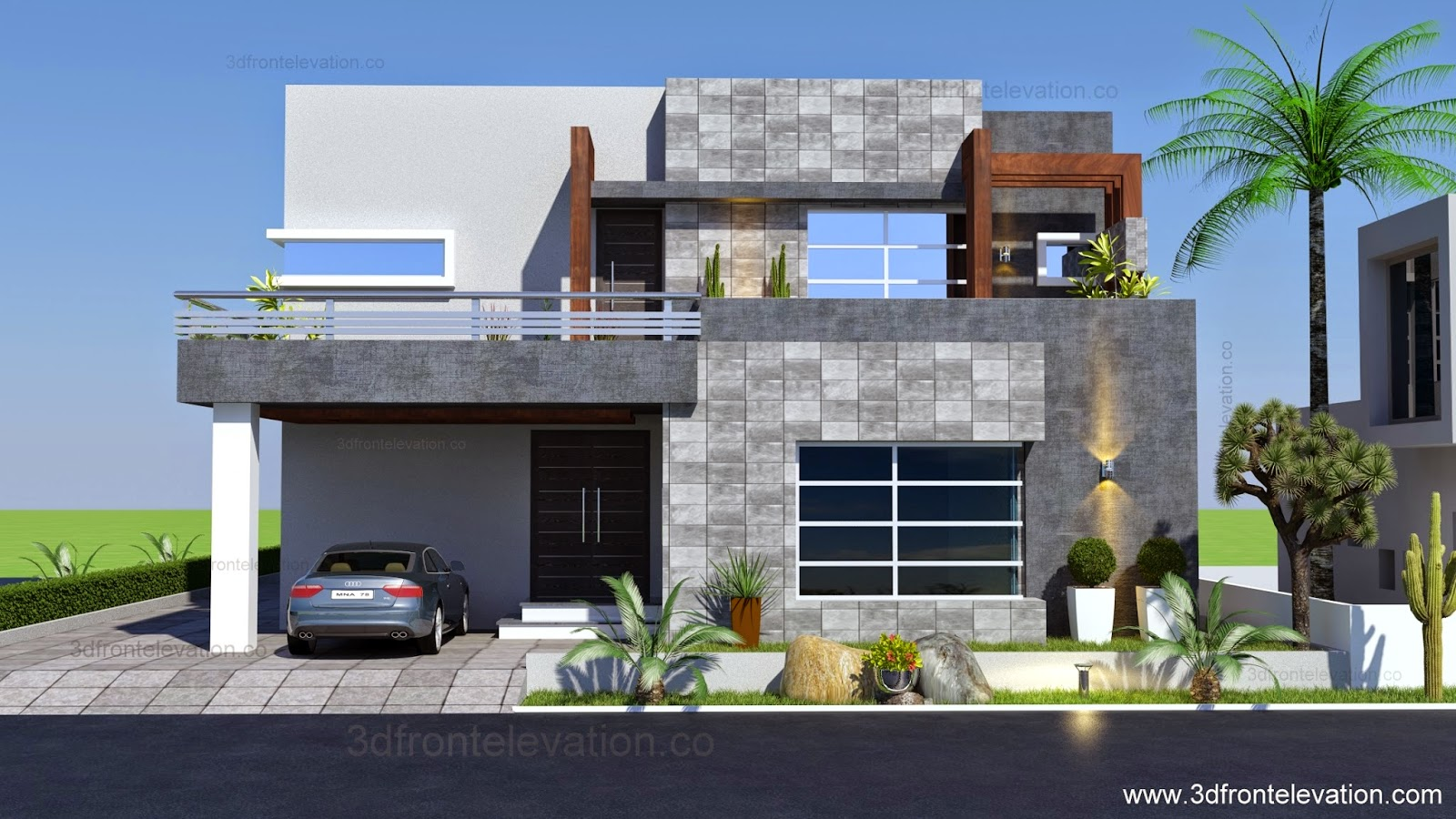3d front 1 kanal contemporary house plan for Modern villa plans and elevations