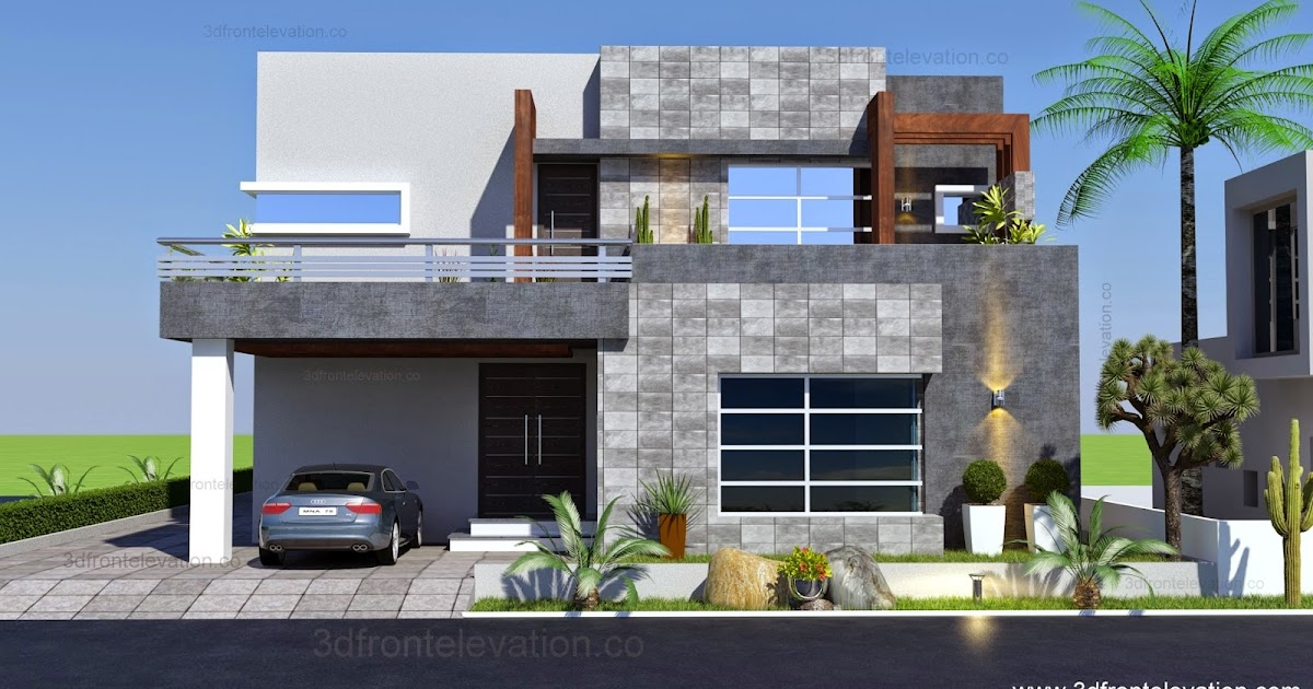 3d front 1 kanal contemporary house plan for One kanal house plan