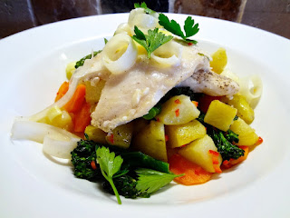 Basa over Jersey Royal Potatoes