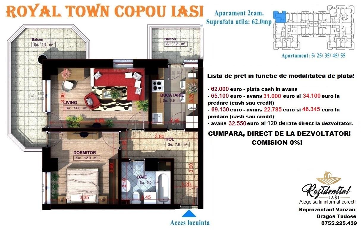 Apartament 2 camere decomandat  - 62 mp