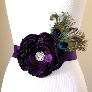 bridal fabric flower floral peacock feather sash belt