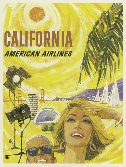 free printable, printable, classic posters, free download, graphic design, retro prints, travel, travel posters, vintage, vintage posters, California, American Airlines - Vintage Travel Poster