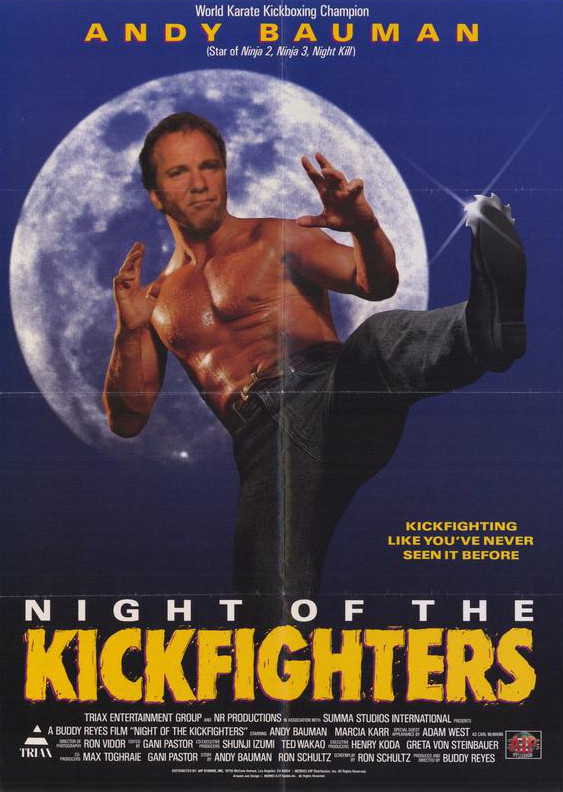 Film poster for Night of the Kickfights, showing a man doing a kick with a shuriken coming out of his shoe
