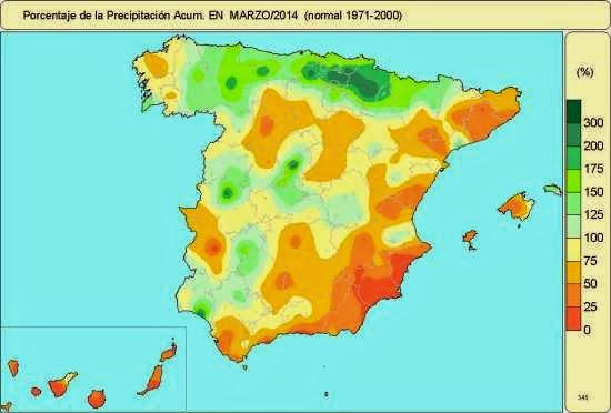 Porcentaje de precipitación marzo 2014.