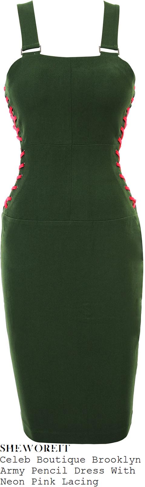 luisa-zissman-khaki-green-pencil-dress-with-hot-pink-lacing-detail