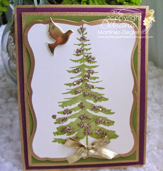 forest pine christmas gold card