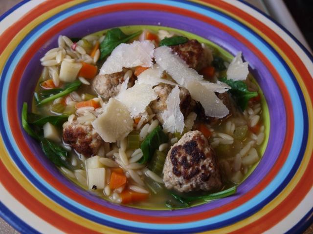Clockwatching Tart: Italian Wedding Soup with Turkey Meatballs