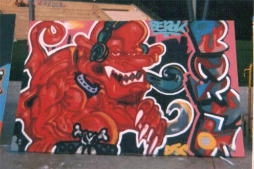 Exhibición de graffiti en Pueblo Nuevo Vieja escuela