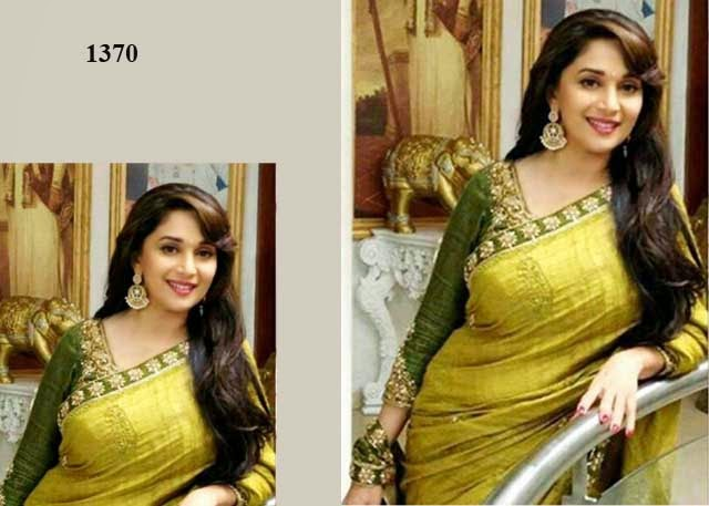 1370 -  Madhuri Dixit in Yellow Green Designer Saree