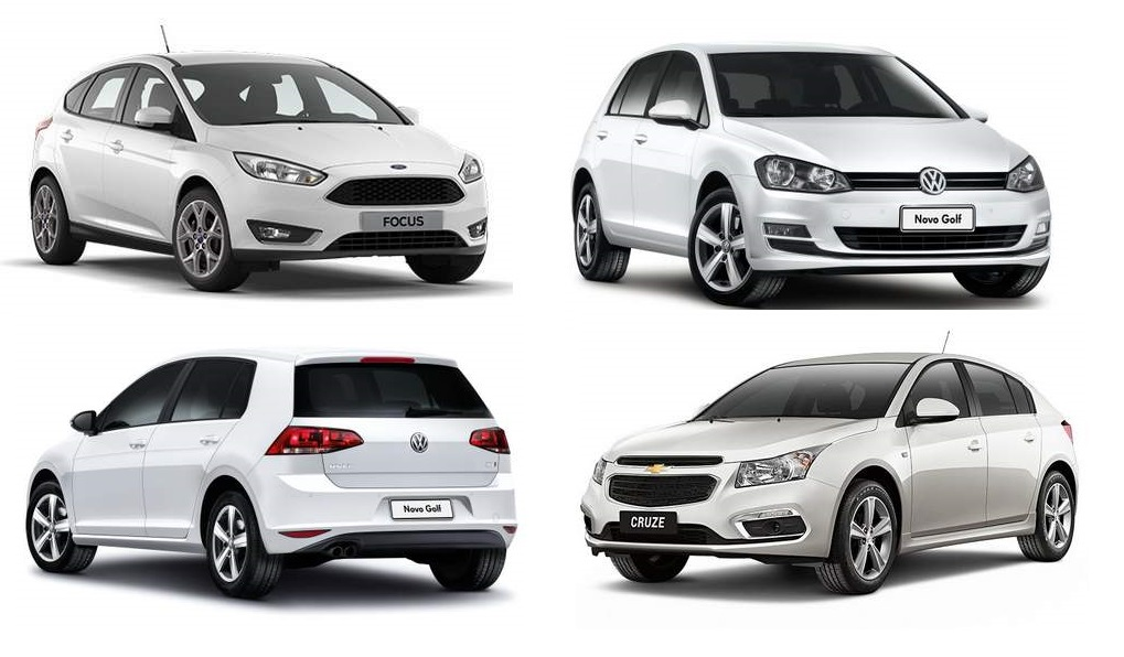 VW Golf x Ford Focus x GM Cruze - comparativo de consumo