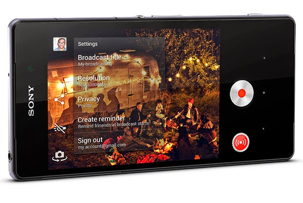 sony-xperia-Z2-exclusively-new-app-camera-allows-you-to-broadcast-live-via-YouTube