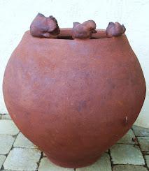 jarre à la corde grès roux cuisson gaz haute temperature