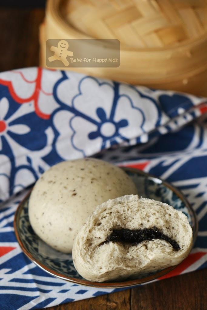 black sesame steamed buns with homemade black sesame paste