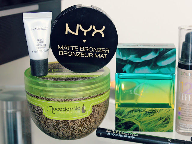 MAC Strobe Cream, NYX Matte Bronzer, Macadamia Deep Repair Hair Masque, MAC Turqatic Perfume