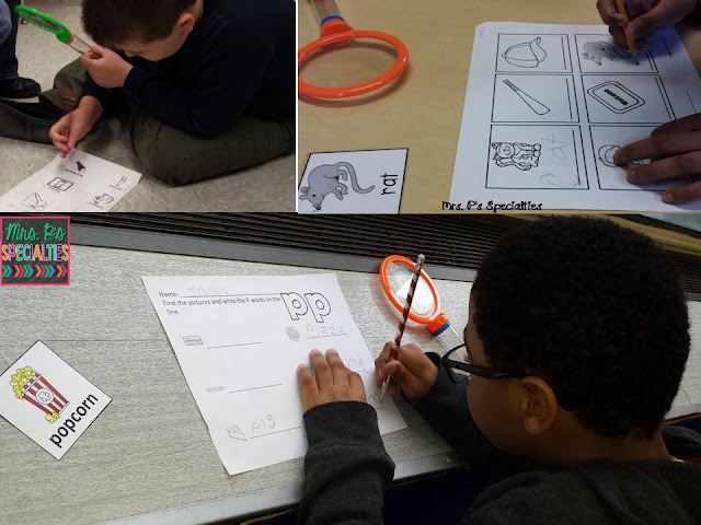 photos of student completing the write the room activity with giant magnifying glasses