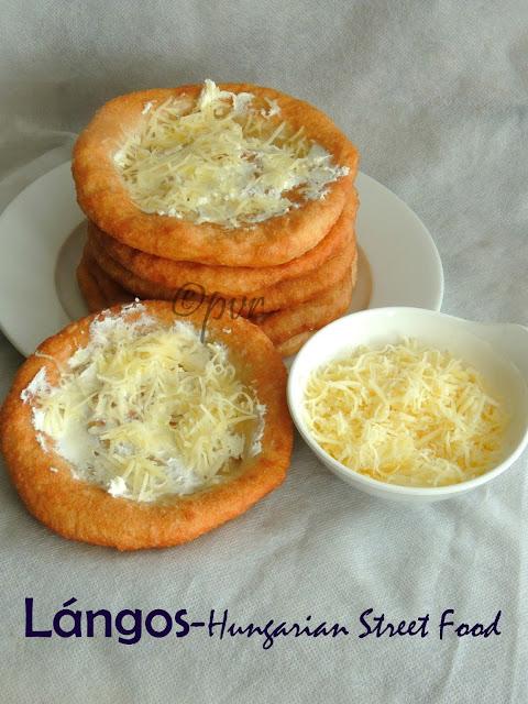 Lángos,Hungarian Langos,Hungarian Street Food