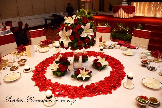 Red Black Lace Wedding Decoration at Renaissance Hotel Kuala Lumpur, petals, floating candle, walkway, aisle, flower stand, floral, red roses, ballroom, selangor, malaysia, elegant, vibrant, special, unique, wedding day, VIP table centerpiece, block candle, posie, chair tie back, maroon