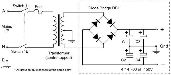 25v capacitor bank for ocl amplifier koleksi skema rangkaian artikel elektronika