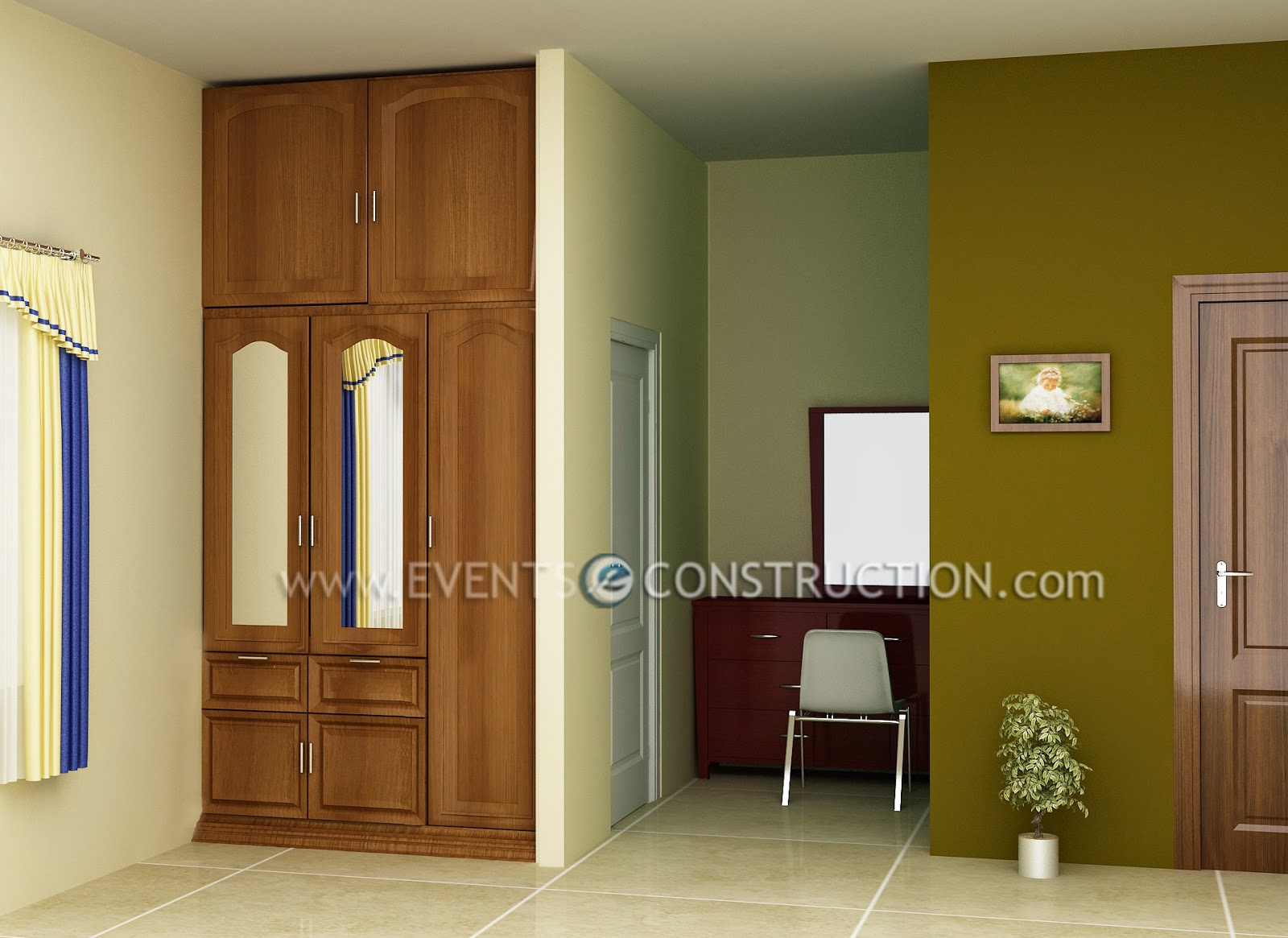 Evens Construction Pvt Ltd Dressing Area And Wooden Wardrobe