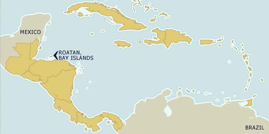 Roatan on the map