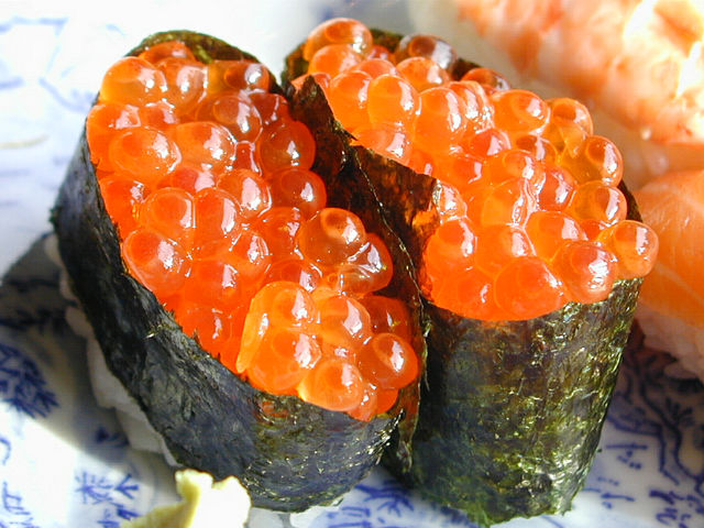 Ikura roll recipe japanese food recipes for Fish eggs on sushi