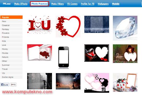 ... . Untuk membuat bingkai foto online, klik menu Photo Frames Online