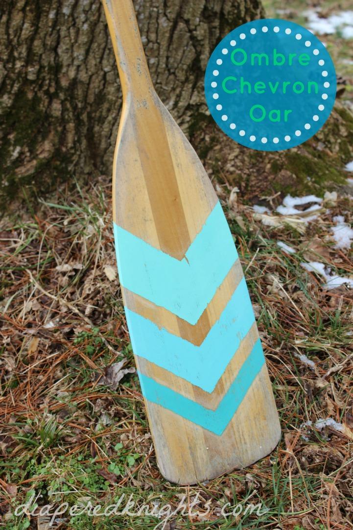 Coastal DIY aqua chevron painted oar