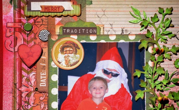 Joe is Christmas Cheer Scrapbook Layout by Denise van Deventer using BoBunny Christmas Collage 02