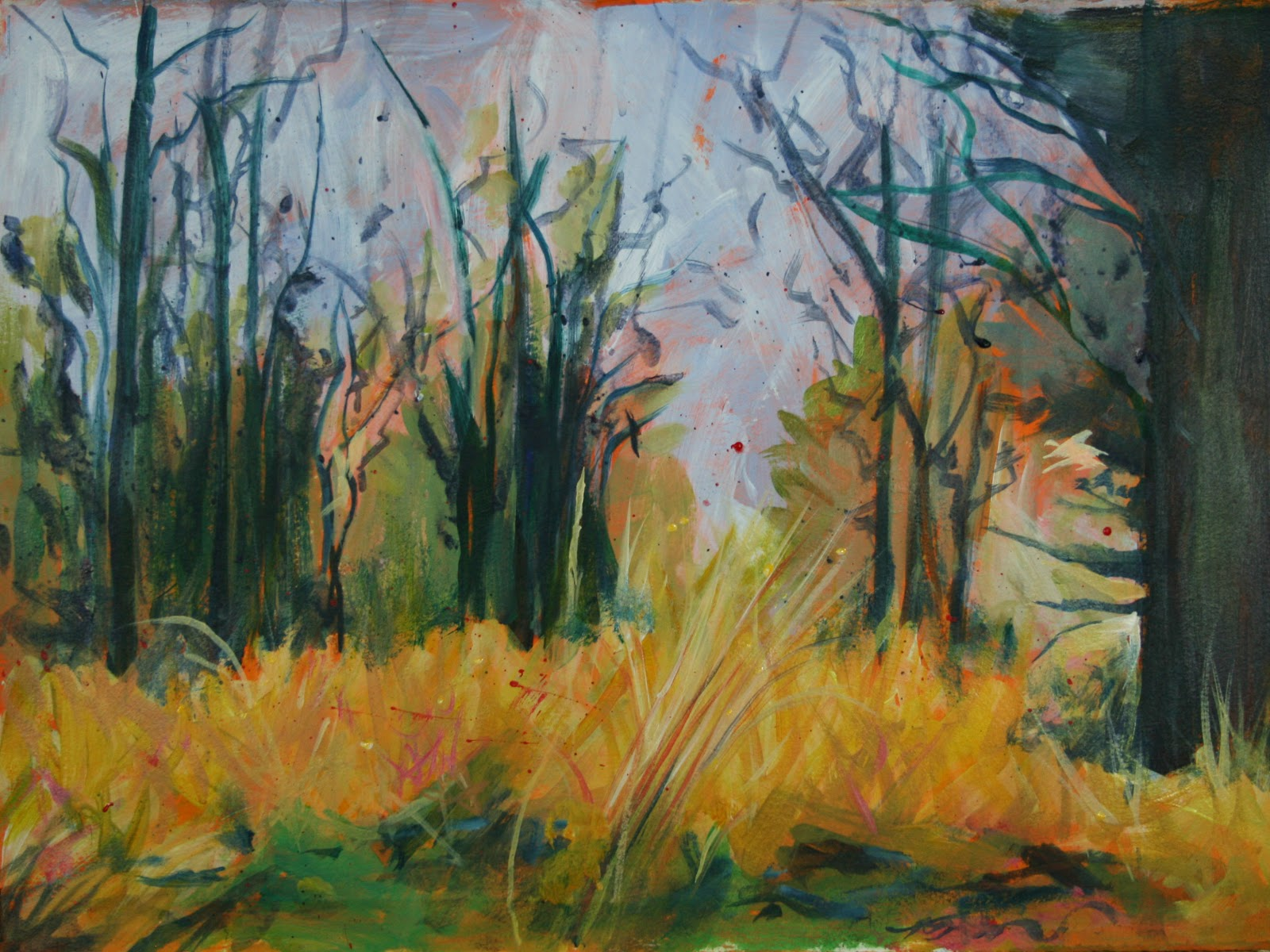 Jo reimer grass and forest painting for Painting a forest in acrylics